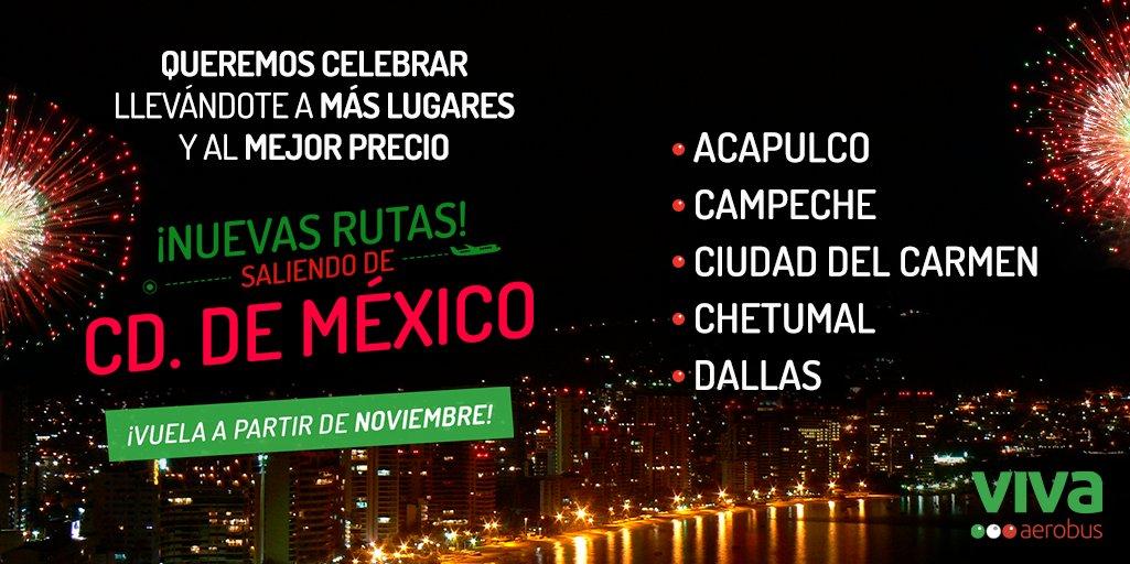 ¡Viva México! 🥳✈️🇲🇽 La mejor manera de celebrar a México es llevándote a más lugares, disfruta las fiestas patrias volando en noviembre a nuestras nuevas rutas desde Ciudad de México, corre al link por tus boletos. 👉 https://t.co/rCN71ol2gc #VivaMéxico #VivaAerobus https://t.co/kw3akO1gzj