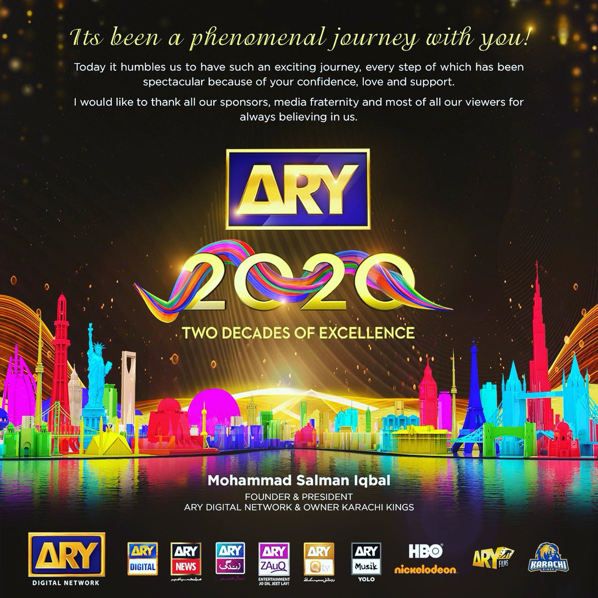 Congrats to the entire team at #arydigitalnetwork , to my viewers and my entire family who stood by US in this amazing journey.20 years just passed by.We learnt a lot in this journey and pray to Allah that we keep serving our country as we have for the last 20 years. Love you all https://t.co/NrlXRYgLwt