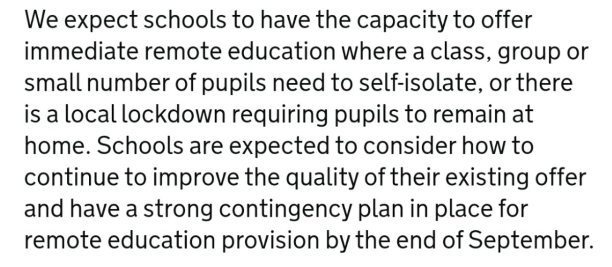 Why does the DfE expect schools to have this capacity? Where is it meant to be coming from?