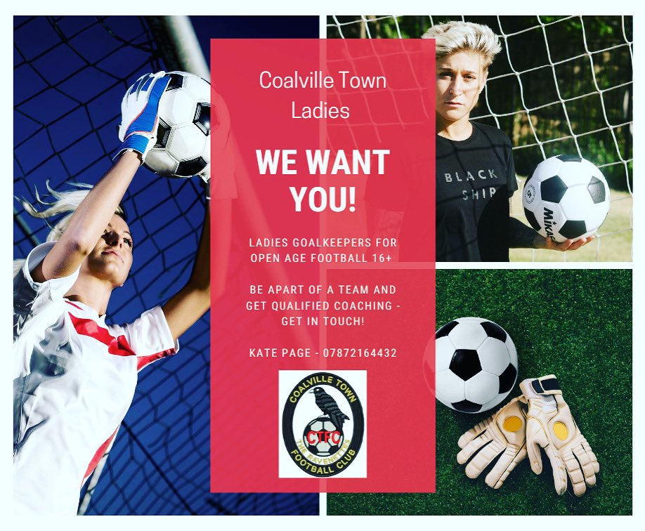 RT @CTFC_Ladies: ⚽️*** New Players Wanted***⚽️. Come and join the largest female set up in the county with great facilities and high level coaching. Looking for a new challenge or just want to get back into football? There is a place for everyone! All details are in the advert 👍🏻 #wearecoalville