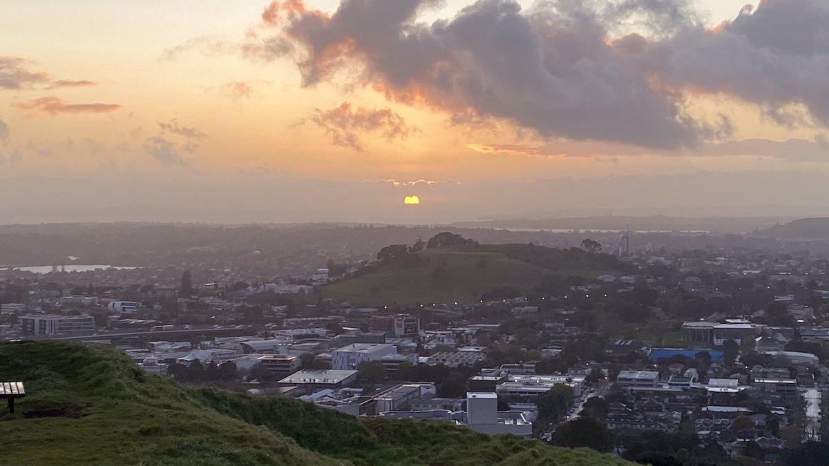 Moody sunrise over Maungawhau this morning