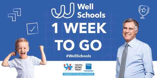 RT @AliOliverYST: Please spread the word ! Surely every school aspires to be a #WellSchool ?... every school can be! From next Tuesday, make the pledge, start learning from other schools and sharing what's working for you. This is a school-led movement powered by @YouthSportTrust @BupaFoundation