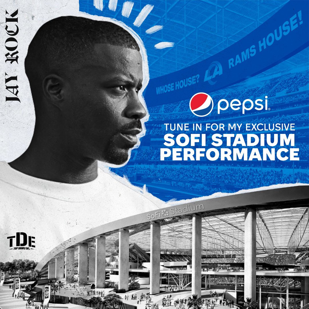 Replying to @TopDawgEnt: TUNE-IN TODAY 4:15P PST sharp! @jayrock X @RamsNFL X @pepsi [Watch]  #TDE 🏆