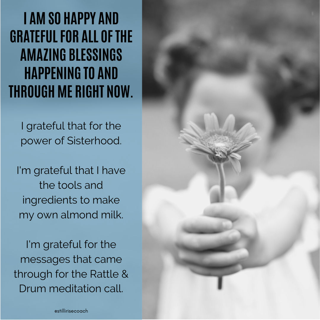 Happy Sunday!  #iamgrateful #sisterhood #mastermind #synchronicity #grace #ancestors #shred10 #healthreset #holisticnutrition #ayurveda #healthcoach #almondmilk #smoothies #intuition #reiki #rattleanddrum #stillwerise #stillyourise #stillirise #stillirisecoach https://t.co/Sbc6scKraj