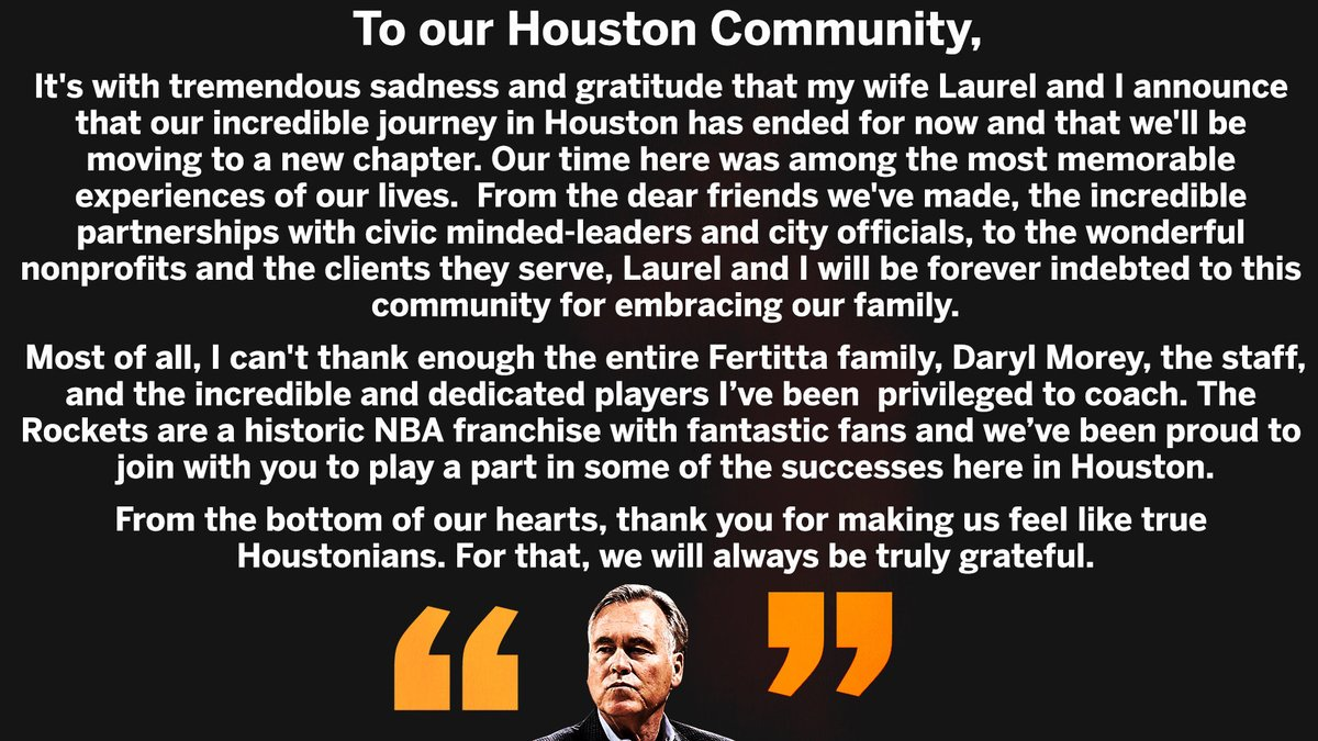 Mike and Laurel D'Antoni statement to ESPN on departure from Rockets