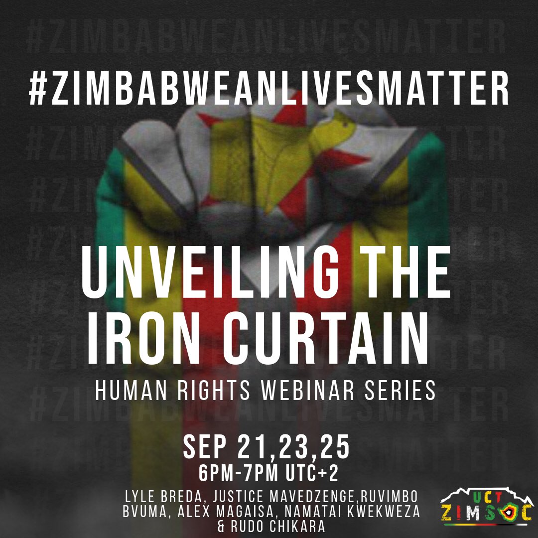 The Webinar series seeks to bring to light the issues surrounding Human Rights, the past and recent events and the role of the Youth in championing the safeguarding of human rights for the present and future. The speakers will be dissecting the topics.  #zimbabweanlivesmatter https://t.co/s3ommOkNQR