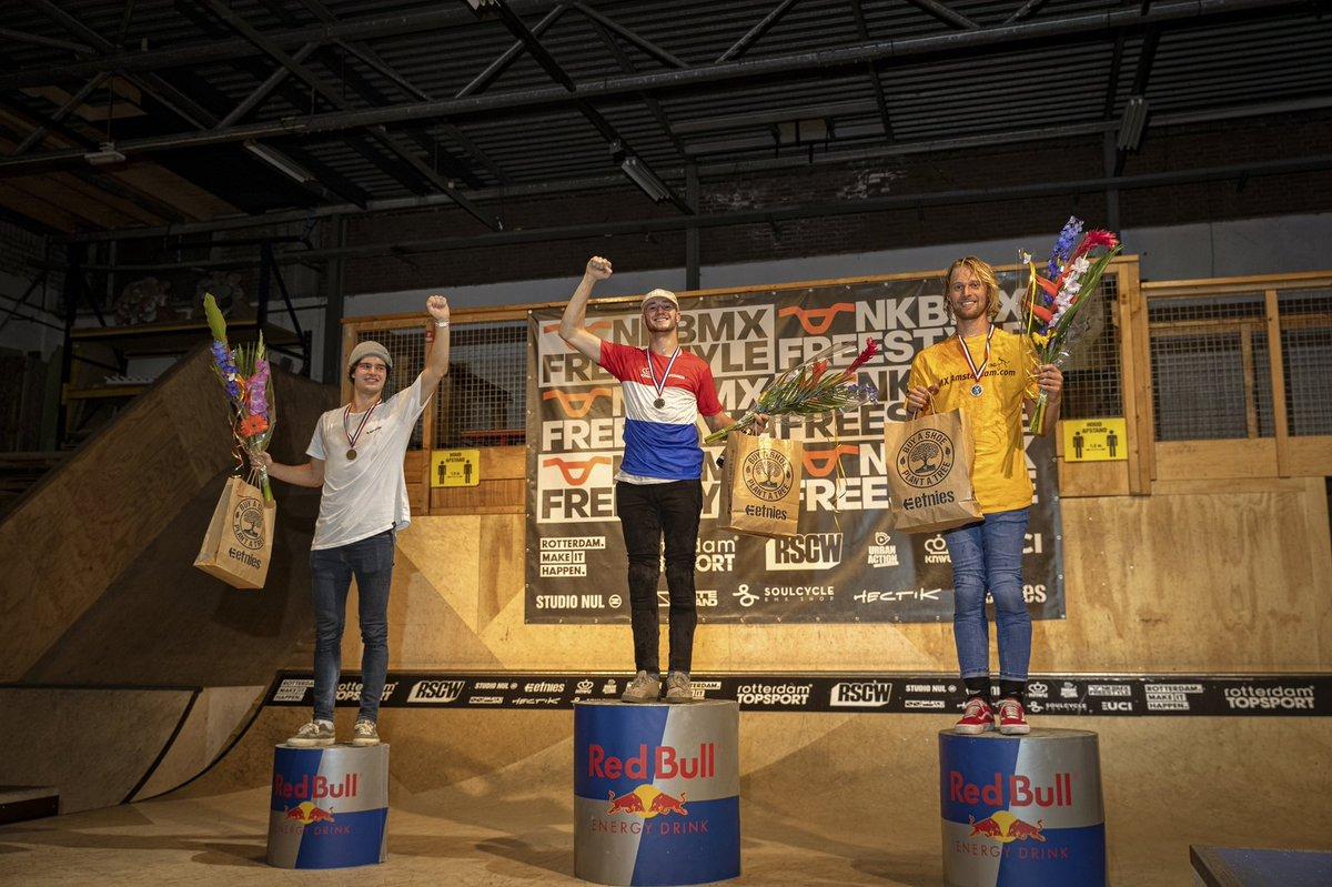 BMX Park Podium of the 2020 Dutch Championships. Elite Men was won by @leviweidmann. Second for @arjanellens and 3rd went to @tomvandenbogaard. 📸: @aaronzwaal @KNWUBMX https://t.co/BG6mVKI5rE