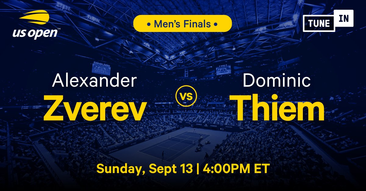The #2020USOpen Men's Finals is live on #TuneIn! 🎾🏆  Tap now to listen to @AlexZverev take on @ThiemDomi for free with @ATPTennisRadio: https://t.co/lSkTxcy9BN https://t.co/tWZIlxuCE6