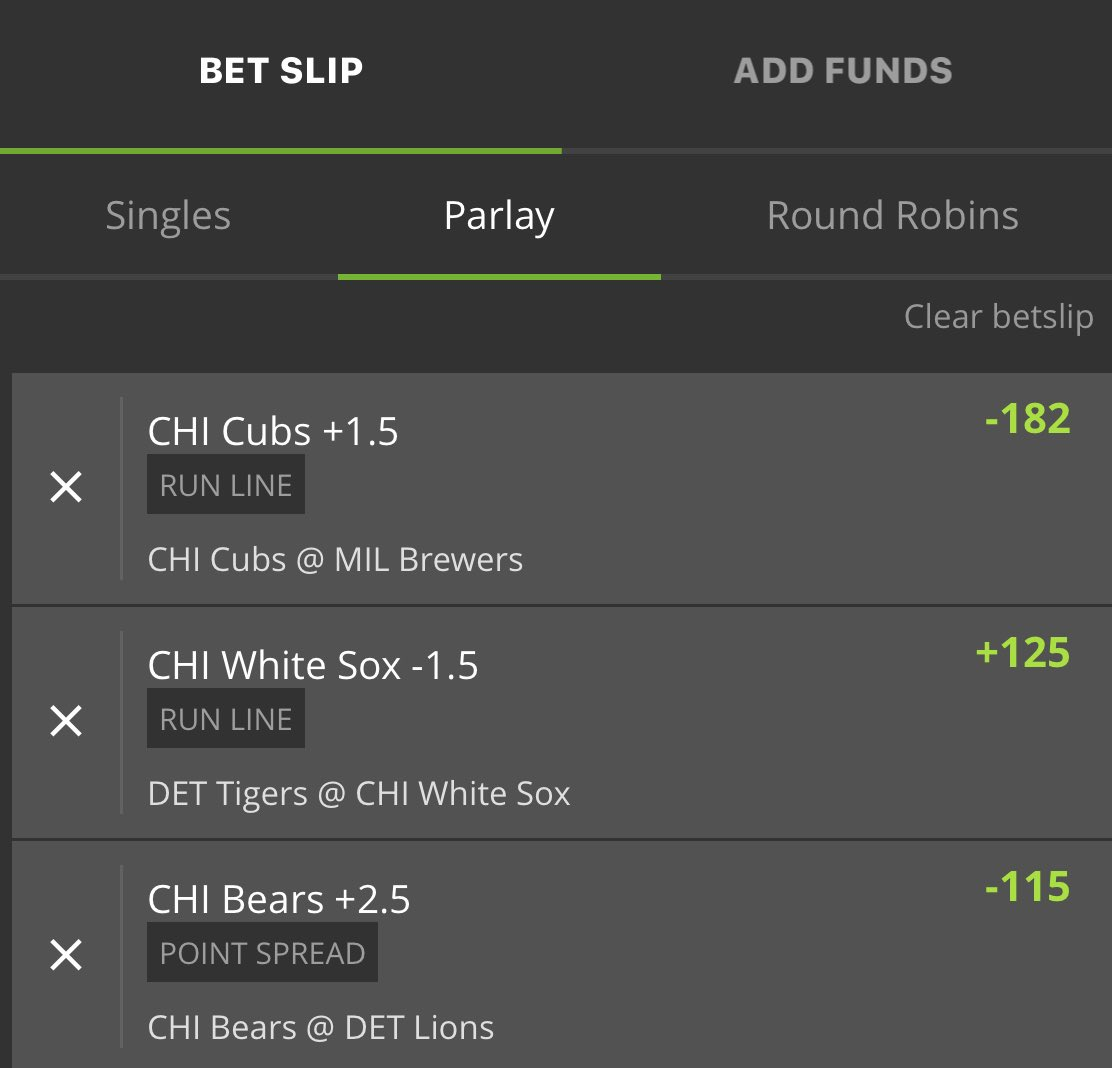 Decided to bet my proud Chicagoan @ChicagoBears @Cubs @whitesox parlay today.  #WinnerWinner https://t.co/mLKAvAXmW0