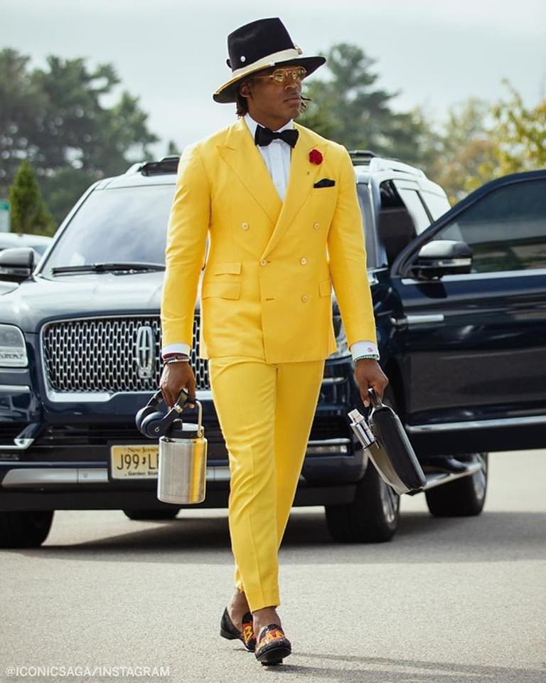 Looks like @CameronNewton went straight from Sunday service to the stadium today.  #Swagger https://t.co/GCi8HHWSNJ