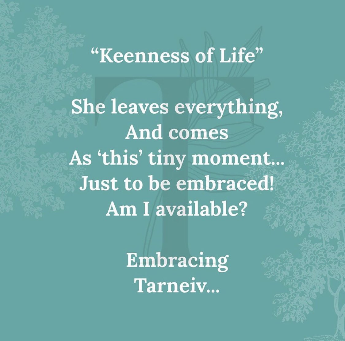 """""""Keenness of Life"""" She leaves everything And comes as 'this' tiny moment... Just to be embraced! Am I avilable? Embracing  Tarneiv ... #MondayMorning https://t.co/Z1mIdD1ASp"""
