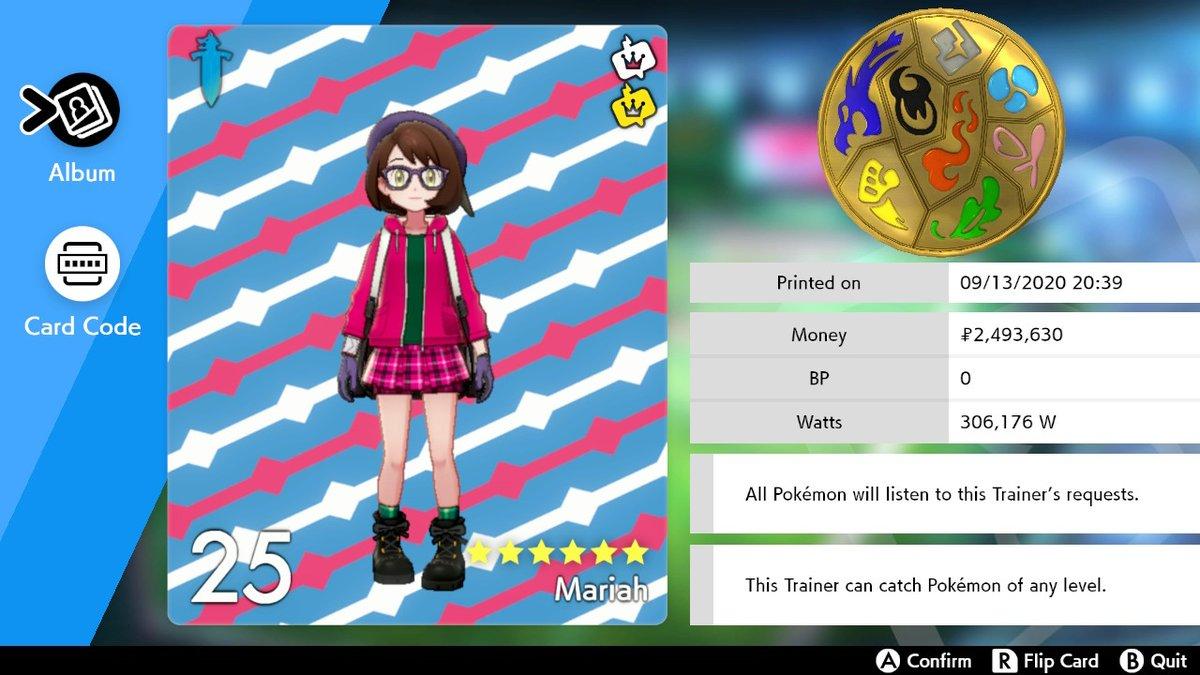#PokemonSwordShield #NintendoSwitch My Pokemon League Card remake version 5. =) https://t.co/uaUjaUrAQA
