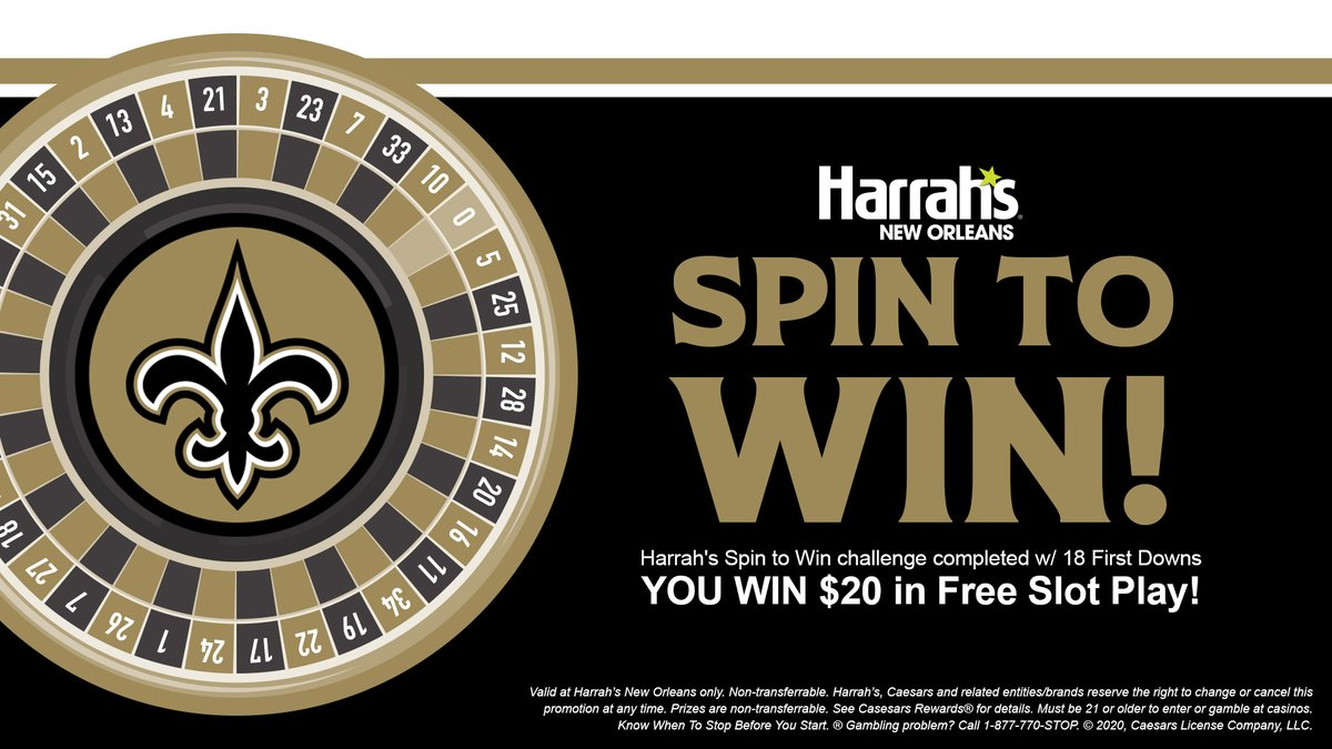 The @harrahsnola spin-to-win challenge of 18 first downs was met tonight! This means YOU win $20 in free slot play! (21+) Present this digital certificate at Harrahs New Orleans Caesars Rewards Desk® to enjoy » neworlns.co/harrahsweek1