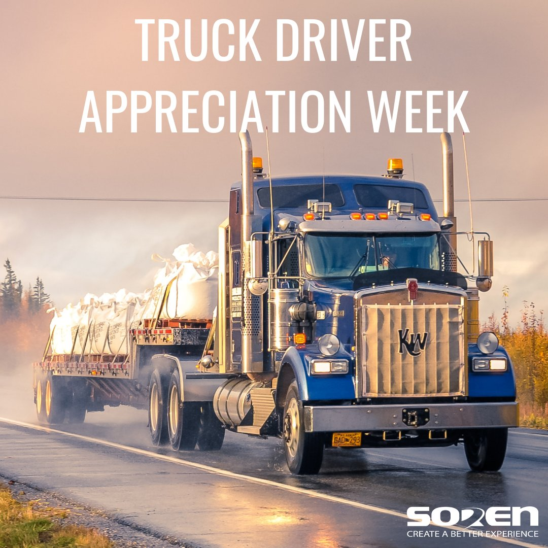 National Truck Driver Appreciation week starts today! Soren says thank you to all the truck drivers. We appreciate you every week!   https://t.co/isp4jnEuop  #thankyou #thankatrucker #soren #sorenfamily #transportation #logistics #werehiring #trucking #appreciationpost #3PL https://t.co/choD6yGhGt