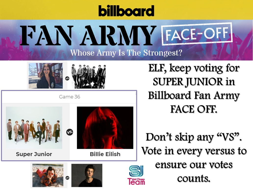 ⚠️✨FAN ARMY BILLBOARD✨⚠️  ELF, Vote for #SUPERJUNIOR  Go, go Vote👉 https://t.co/63WCRaK5zw  ✅Enter a nickname and an email.  🚨Remember: Don't skip any vs. so your votes count.  @SJofficial #슈퍼주니어 #SuperJuniorDnE #SuperJuniorDnE_BAD #슈퍼주니어DnE #BAD_BLOOD https://t.co/XtJxJYK5Zt