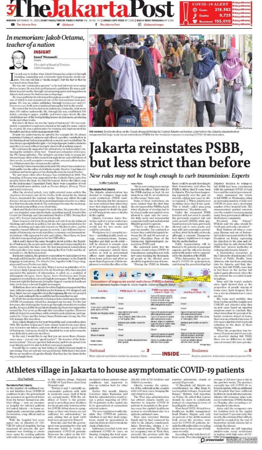 The Jakarta Post On Twitter Today S Paper Sep 14 2020 Jakpost Jakarta Reinstates Psbb But Less Strict Than Before Https T Co Mrpd84ti29 In Memoriam Jakob Oetama Teacher Of A Nation Https T Co Btuf1rbtbe Athletes Village In