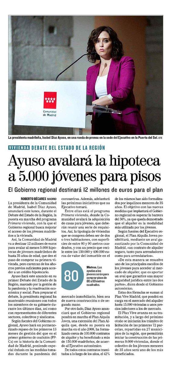 Ayudar a los jóvenes a acceder una #vivienda es uno de los principales objetivos de @IdiazAyuso y el gobierno de la @ComunidadMadrid https://t.co/rM7qv3P6A3