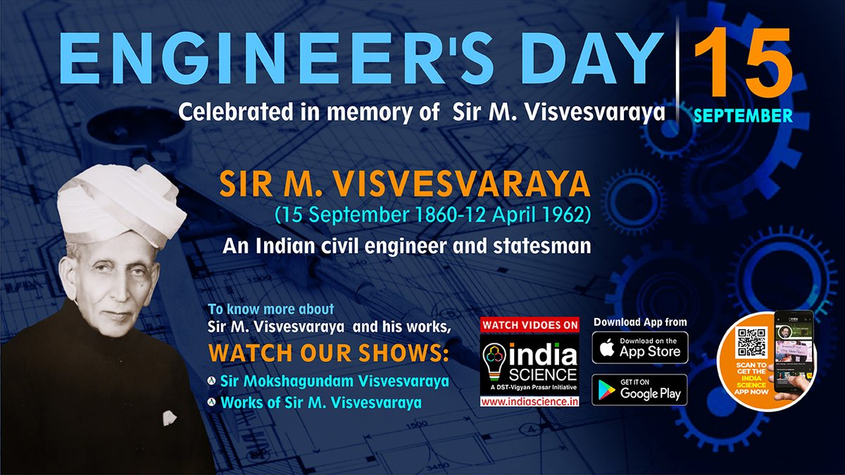 On the occasion of #Engineers Day tomorrow, Join us for a LIVE lecture on #Sir M. Visvervaraya, a legendary nation builder. Catch this session LIVE on #IndiScienceTV Date: 15th September 2020 Time: 4 PM to 5:30 PM @IndiaDST @Ashutos61 @VigyanPrasar @nakulparashar