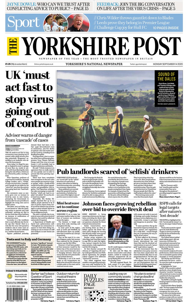 Good morning all - here are the front pages of todays Yorkshire Post and Sports Monday supplement to get the week started. #buyapaper #ProtectProperJournalism 👉 yorkshirepost.co.uk/subscriptions