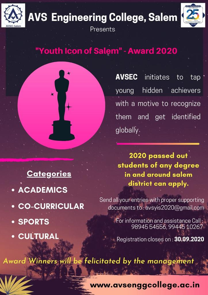 """*AVS Engineering College* Creates Responsible Engineers  *""""Youth Icon of Salem"""" - Award 2020*   2020 passed out students of any degree in and around salem district can apply.  #Topengineeringcollege  #Top99thcollege  #Bestcollege  #Strongplacement #avsec  #counsellingcode2636 https://t.co/oPiHMG3bBJ"""