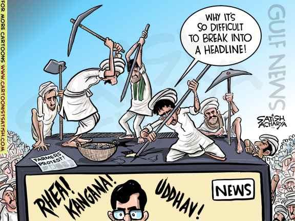News Channels ignore farmer's protest! @gulf_news cartoon #FarmersProtest https://t.co/DJxPNci75w