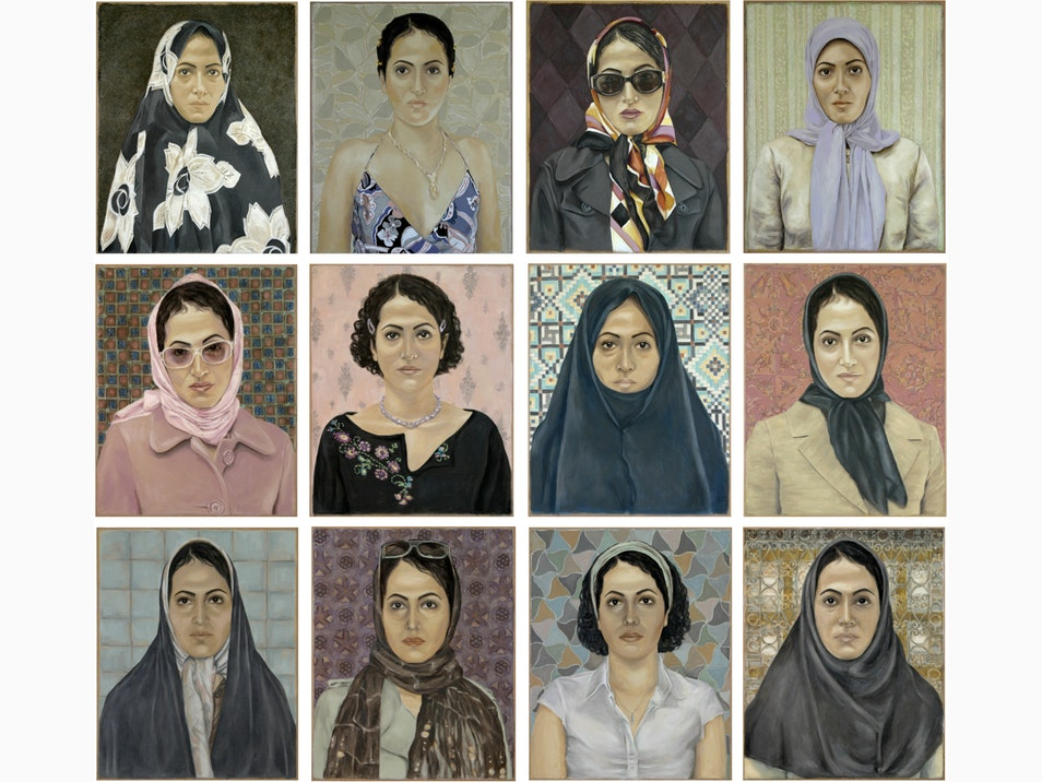 Self Portrait by Berlin based Iranian artist Mona Hakimi-Schueler who explores the contradictions, strengths and limitations of Iranian female identity #womensart