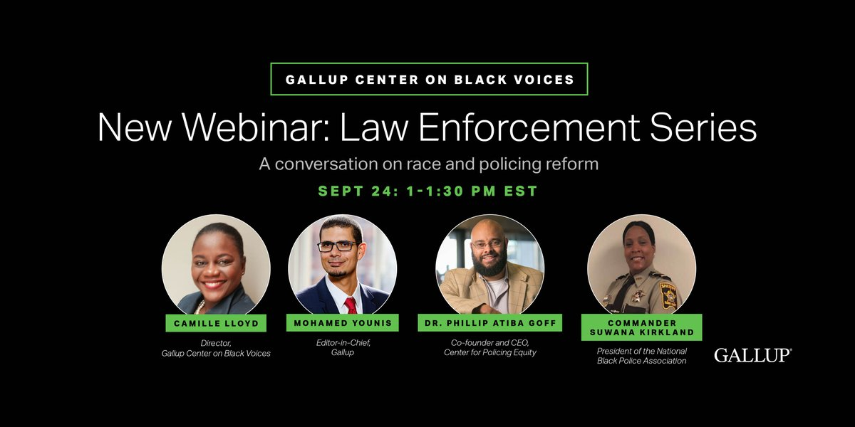 Justice is a key research pillar of the Gallup Center on Black Voices, and one the center spent much of its focus on this summer in its Law Enforcement series. Register now for an important discussion on race and policing reform. https://t.co/O9yZPZOCLX https://t.co/vSe9ajwE9k
