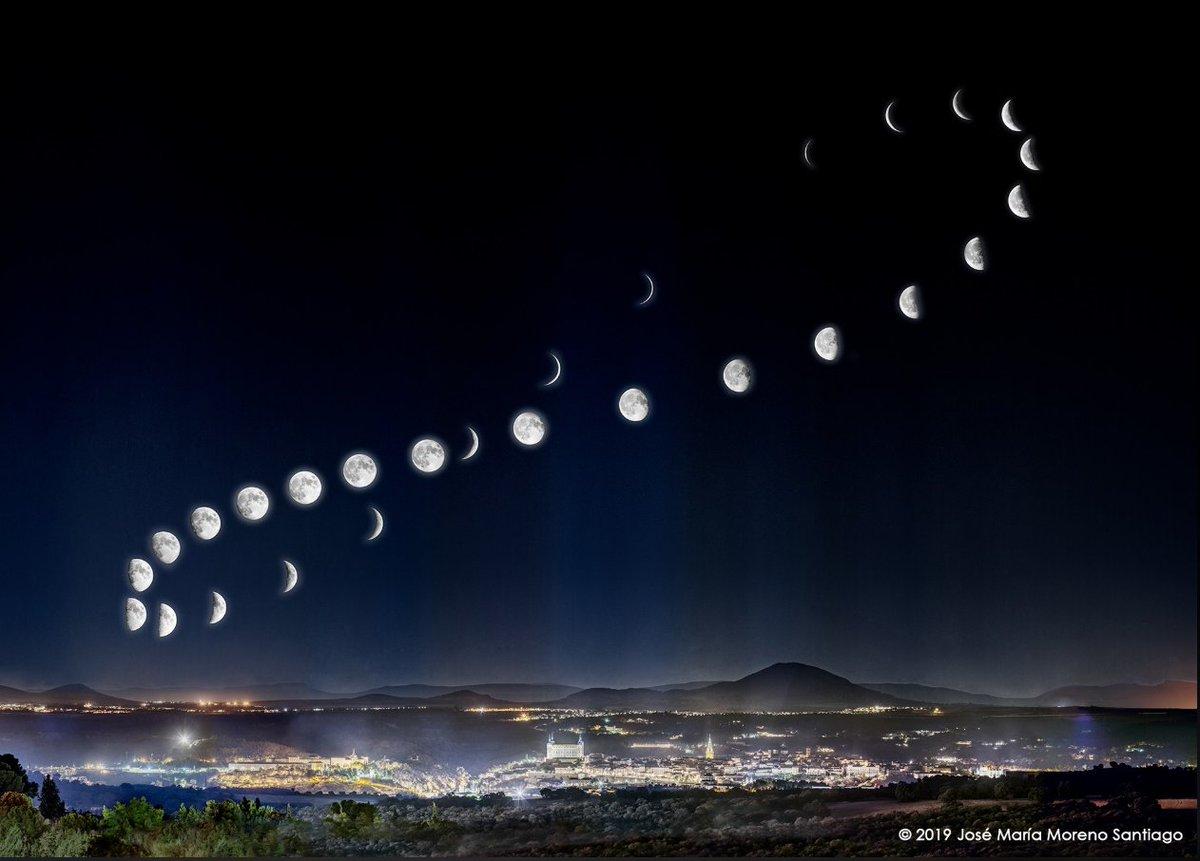 Fotos desde el mismo punto en Toledo durante 28 días distintos para capturar todo el ciclo lunar.