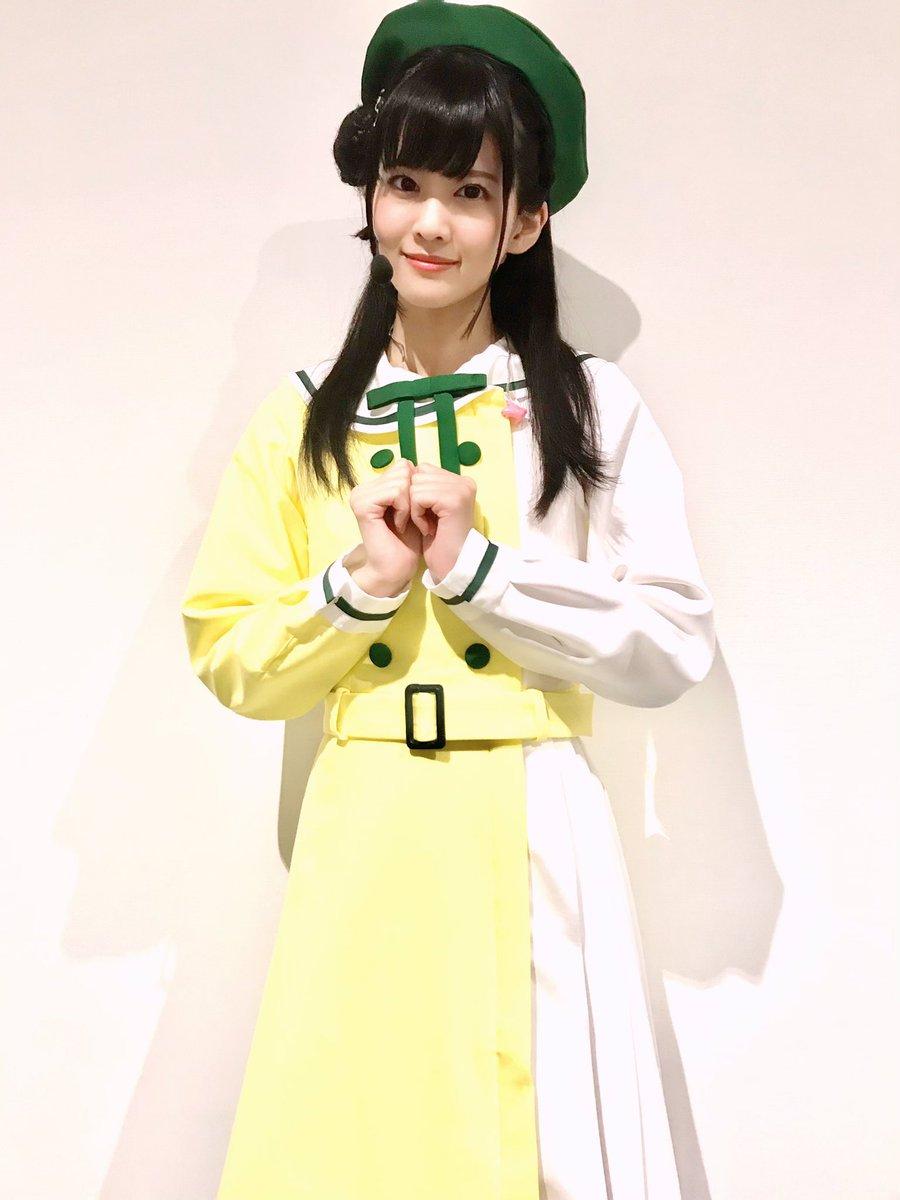 これは未来ハーモニーの衣装🌼黄色の清楚系ワンピースだよ〜✨緑のベレー帽がすごくかわいいの💕璃奈ちゃんだけミニ帽子なのも可愛かったなあ🥰