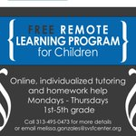 School is officially in session! Need homework help? We're here!   Our virtual tutoring and homework help is available for 1st - 5th graders this fall.  Sign up by calling Melissa: 313-495-0473 or melissa.gonzales@svsfcenter.org.