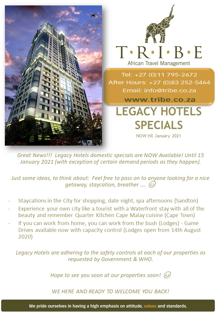 Legacy Hotels Specials are now available until 15 January 2021!  Contact #TribeCommunications for your #LegacyHotel arrangements now! https://t.co/SORCEgiiAu  #SeeAfrica #SeeTheWorld #AfricanTravelManagement #TravelArrangements #TribeTravelBug #CorporateTravel #LeisureTravel https://t.co/dWA51skEeO