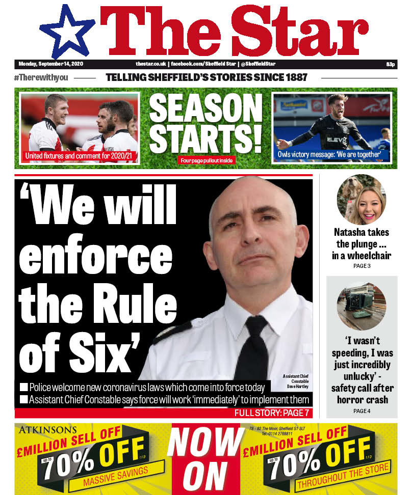 The Rule of Six is here and @SYPDavidHartley says the new law will be enforced across South Yorkshire. We might not like it, but we need to work together on this one. Todays @SheffieldStar ...
