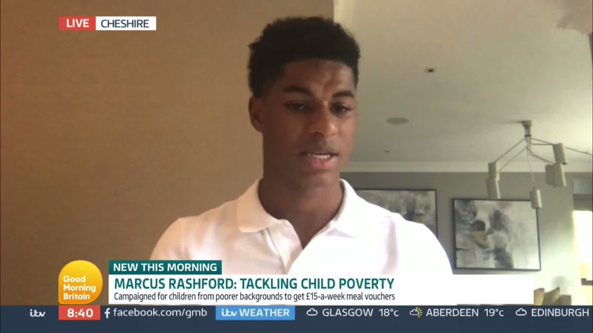 If youre young and youre not eating you just have no energy, you dont feel comfortable going to school… You're physically drained.' @MarcusRashford tells @Piersmorgan and @susannareid100 what it feels like for children to go hungry through the school day.