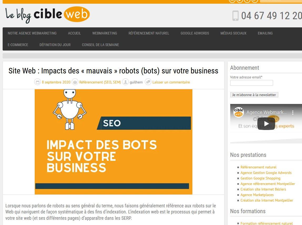 Site Web : Impacts des « mauvais » robots (bots) sur votre business https://t.co/yB7jJSrLsI @Agence_Cibleweb https://t.co/56u8gFnAoM