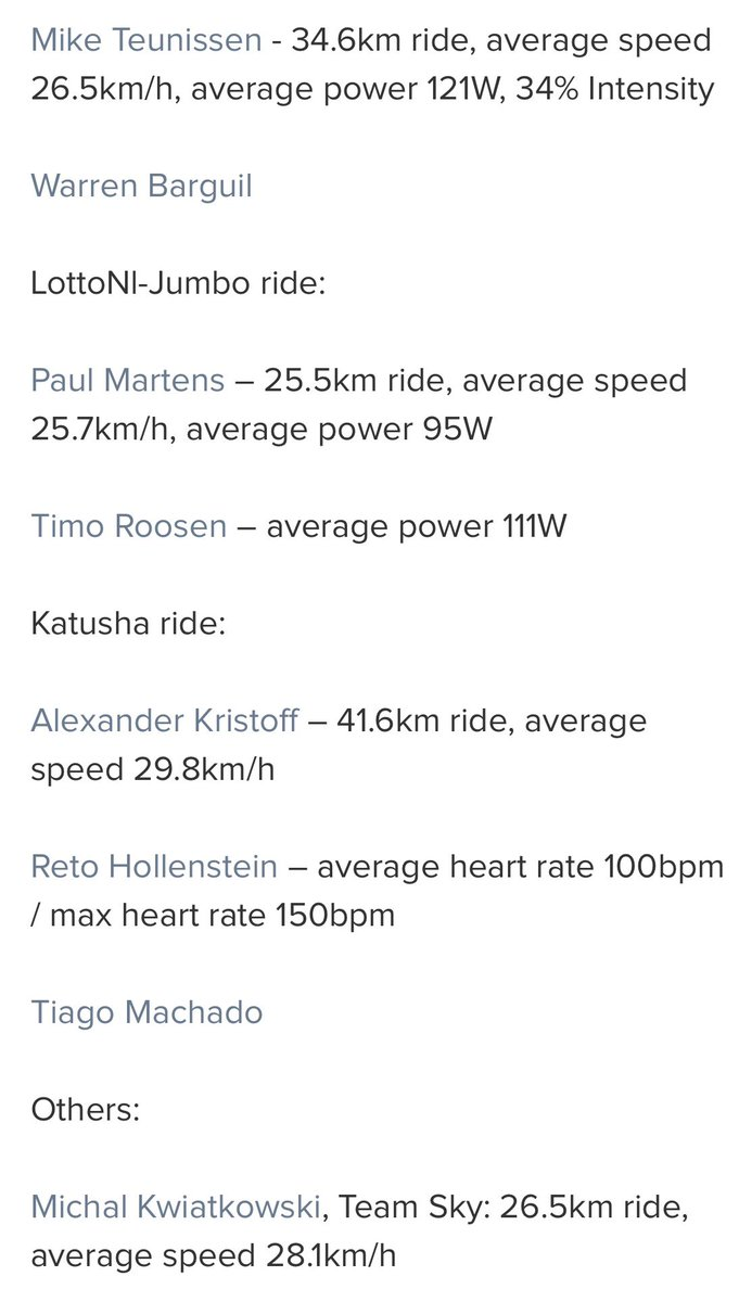 The final rest day of this years #TDF2020   Here are some ride stats from different teams rest day rides from previous tours🤜🏼🤛🏼   #tdf #tourdefrance #cycling #ferrari #cyclisme #cyclinglife #bike #ciclismo #f #uci #ferrarif #cyclist #roadbike #letour #velo #procycling #ushuaia https://t.co/KkIwZqE4i5