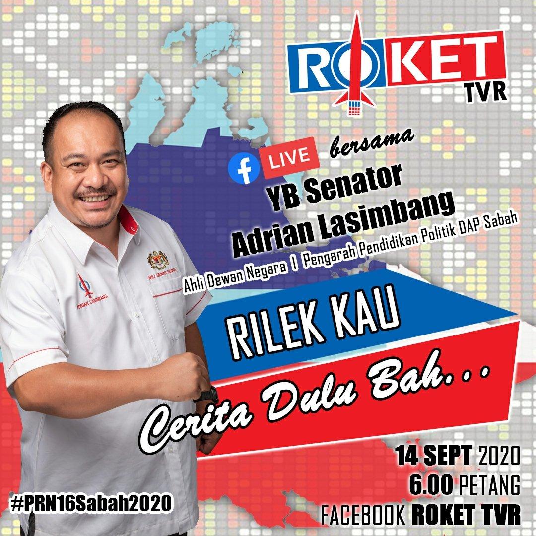 *Roket TVR* 🔴 Facebook Live bersama YB Senator Adrian Lasimbang dalam Rilek Kau Cerita Dulu Bah... 14 September 2020 | 6.00 Petang FACEBOOK : Roket TVR *LINK FACEBOOK ROKET TVR* facebook.com/rokettvr/ *LIKE | SHARE | COMMENT* #rokettvr #adrianlasimbang #prn16sabah2020