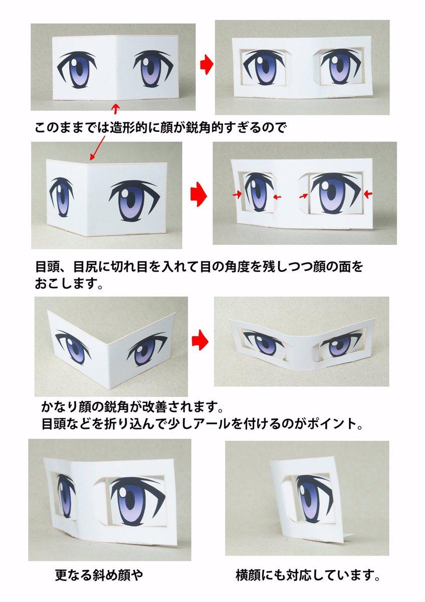 僕が思うアニメ、漫画の目の構造はこうなってこう。(前回のアニメ、漫画の「斜め顔」の目の考察を踏まえた上で紙模型から原型までの間の話。)ペーパークラフト付き