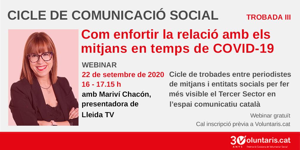 🔊Apunta't ja a la 3a trobada del #CicleComunicacióSocial!   ✅La presentadora de @LleidaTV i comunicadora @Marivichacon donarà eines a les entitats socials per poder millorar el seu paper com a font informativa del sector.  🔗https://t.co/Lih9PeDNPz https://t.co/Nzu0X3SsCR
