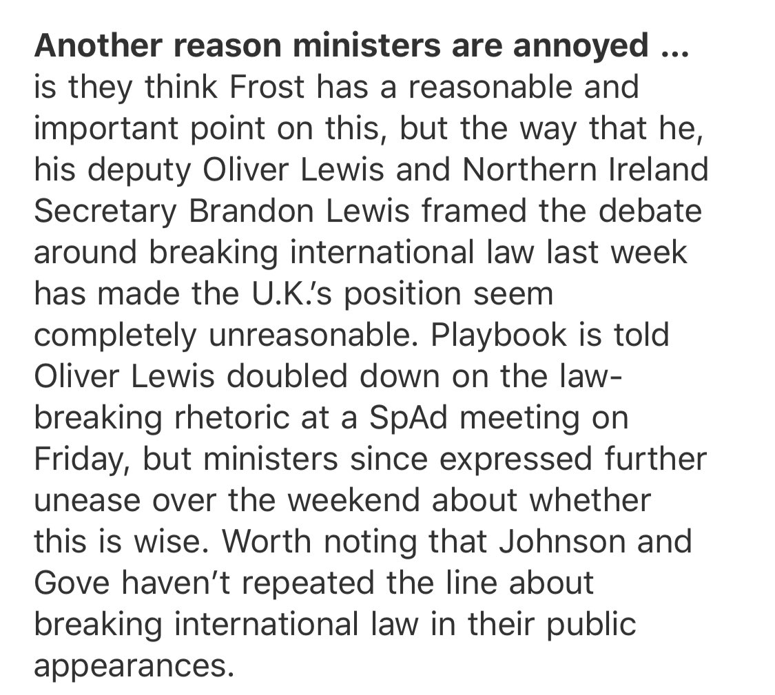 Some ministers are annoyed with David Frost, Oliver Lewis and Brandon Lewis for the breaking international law line... they feel the row has undermined a reasonable and important point on NI food https://t.co/ZZhpsQeNhB