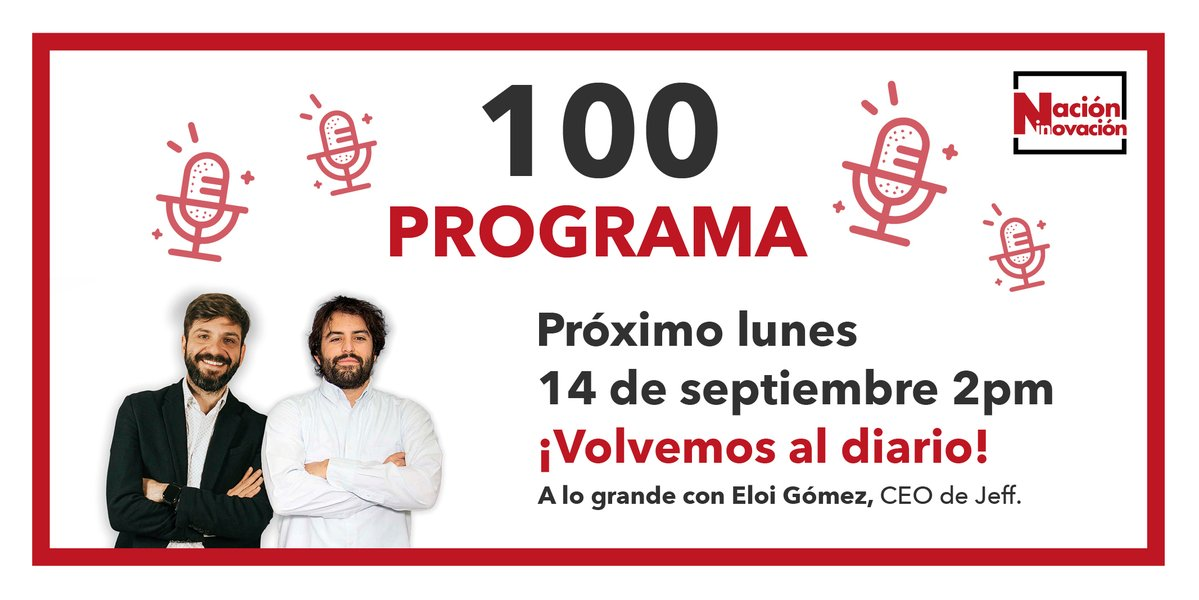 Celebra con nosotros nuestro programa 100! Hoy a las 2pm volvemos a la emisión diaria, y lo hacemos a lo grande, con @eloichu CEO de @JeffApp_Tech!  Sigue el programa en nuestro twitter, en fb: https://t.co/PXNAooZlLB o en Youtube: https://t.co/OAbAFBMoJl Nos vemos en un rato!! https://t.co/jqrlp9tWKd