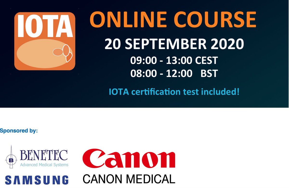 A reminder that Sunday 20th September there will be an IOTA online course covering how to characterise ovarian masses and diagnose #ovariancancer - including an IOTA certification test. @ISUOG #MedTwitter  For more details and register: https://t.co/Wsl2QJjDyP https://t.co/FIJuDska5J