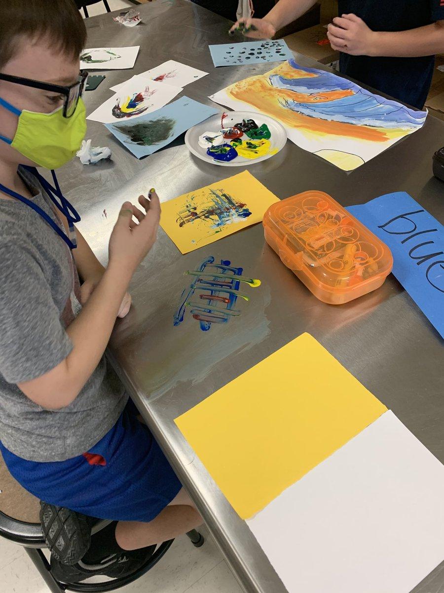 Table Monoprinting #elementaryartists #ShilohSharksStrong @ShilohPointES @ForsythFineArts