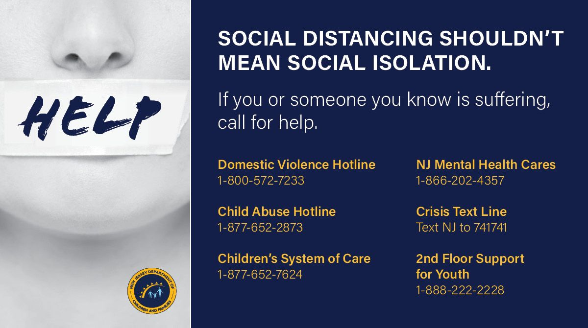 #SocialDistancing shouldn't mean social isolation.  If you know of a family that is struggling, make a call.  ☎️ Domestic Violence: 1-800-572-7233  ☎️ Child Abuse Hotline: 1-877-652-2873  ☎️ Youth Behavioral Health: 1-877-652-7624  ☎️ Adult Mental Health: 1-866-202-4357 https://t.co/PAZK6TYC7c