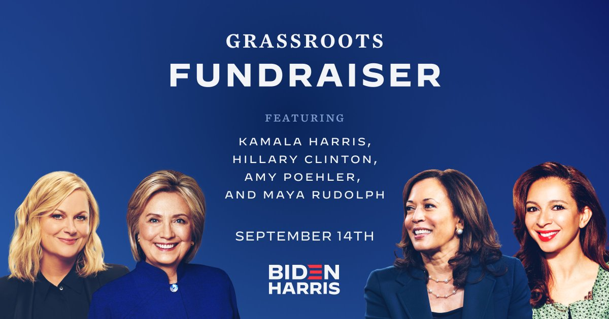 Could not be more excited that Amy Poehler and @MayaRudolph are joining @HillaryClinton and me at our grassroots fundraiser tonight at 6pm ET. With only 50 days to go until Election Day, every dollar counts. Chip in now to join us: joe.link/3khf1LA