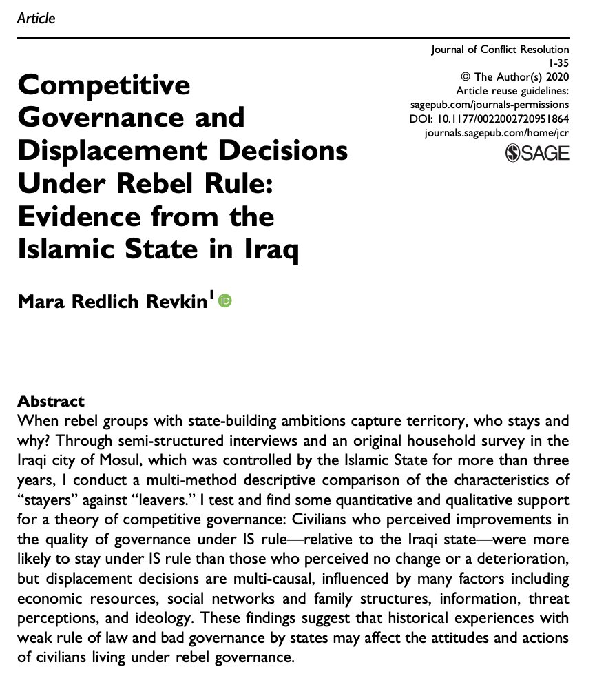 My new article in JCR on displacement during the Islamic State's rule in Mosul finds evidence that historical experiences with bad governance, injustice & weak rule of law affected decisions to stay or leave—along with many other social & economic factors: