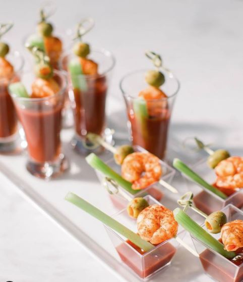 Introducing the perfect bite-size treat for any corporate event. Bloody Mary shrimp skewers! 🍅🍤 #thegrand1401 #weddingfood #weddingplanningideas  #catering #eventplanning #eventplanners #creativefood  #weddingcaterer #eventcatering #eventcaterer  #brunchfood #bloodymaryshrimp https://t.co/bN2AOi1Cse