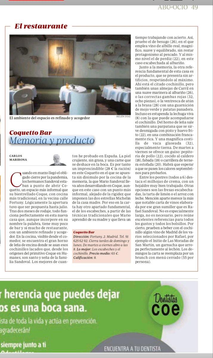 Es todo un lujo comprobar que el nuevo establecimiento de los hermanos Sandoval, Coquetto Bar, incluye en su carta una selección de nuestros #vinos. https://t.co/pO9bqsEQP7