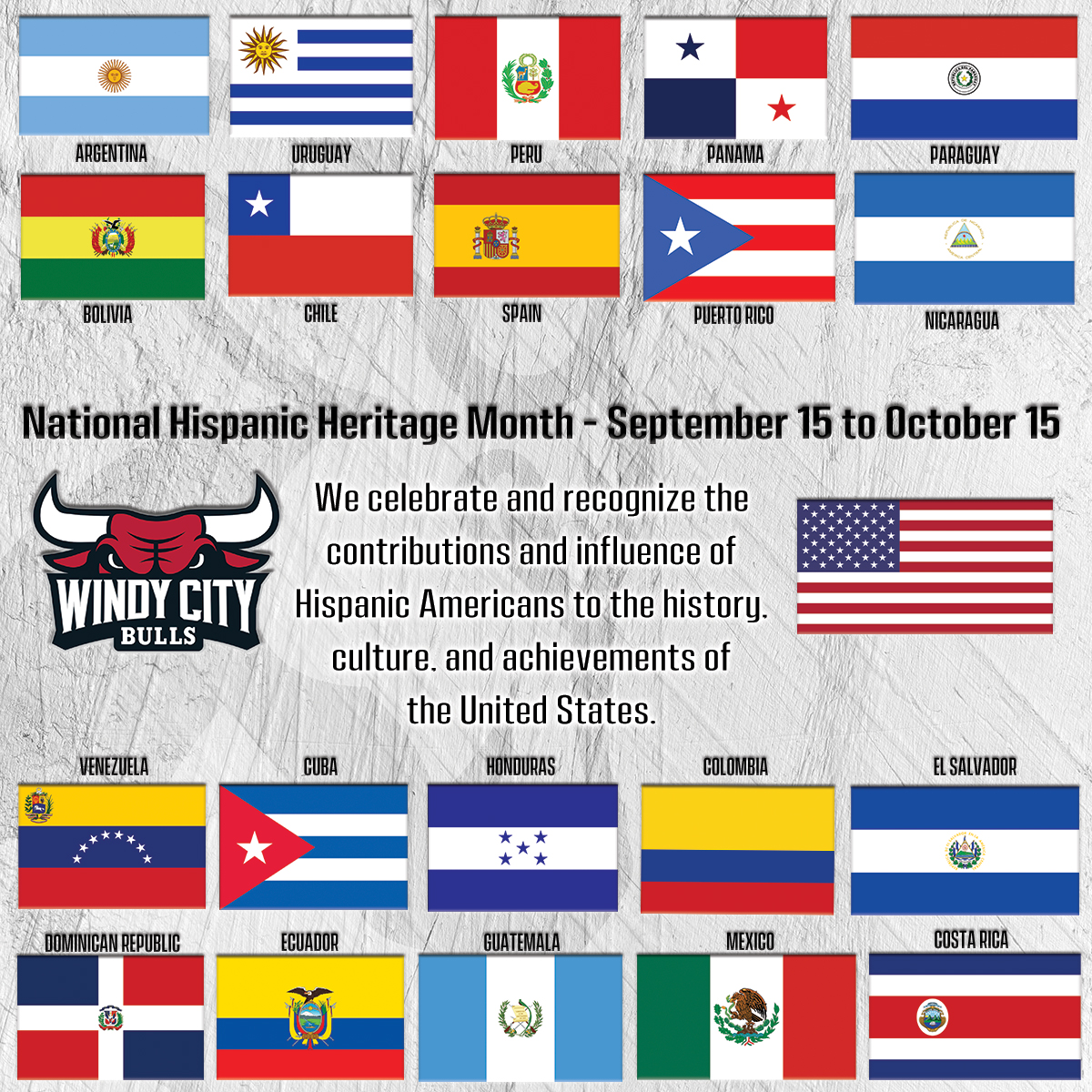 Tomorrow kicks off Hispanic Heritage Month!   Let us know in the replies how you celebrate, as well as what you'd like to see at future Windy City Bulls Hispanic Heritage Nights!  Reply for your chance to win a Los Toros Sugar Skull T-Shirt!  #HispanicHeritageMonth  #NBATogether https://t.co/xXSWN6FCRG