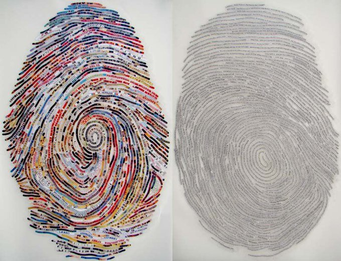 US artist Cheryl Sorg finds texts from her subjects favourite quotes and song lyrics and weaves them into an image of their actual fingerprint #womensart