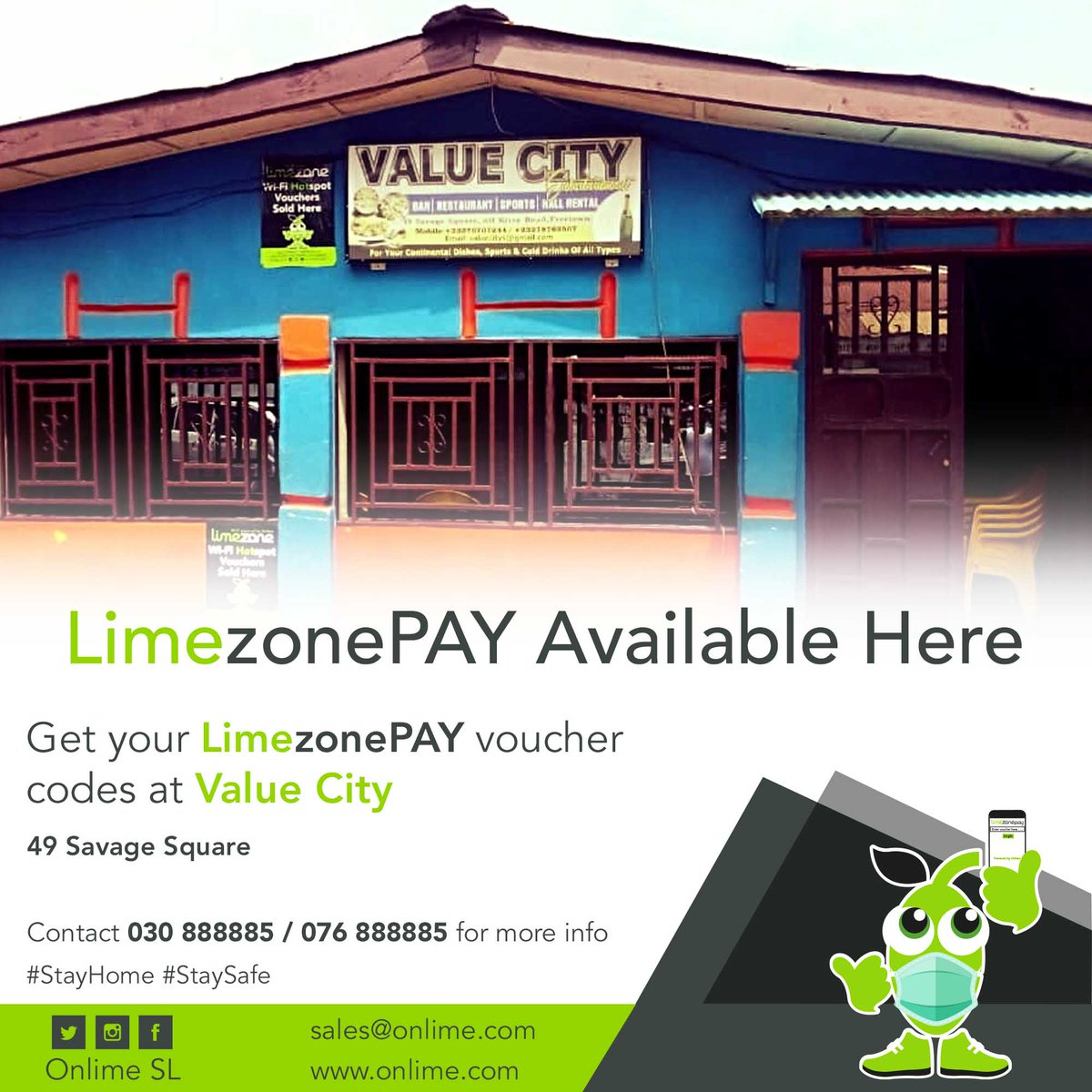 Get your LimezonePAY Voucher codes from Value City 49 Savage Square. contact 030 888885/076888885 for more info. #StayConnected #StaySafe #LimezonePAY https://t.co/oSPZz1y1Rp